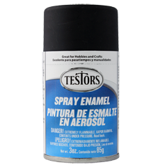 Testors 1249 Flat Black Spray Enamel 3 oz Can Paint - shore-line-hobby