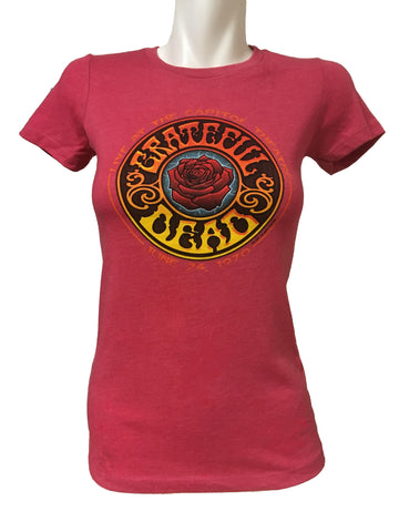 American Beauty Ladies Cut Tee Heather Raspberry Tee