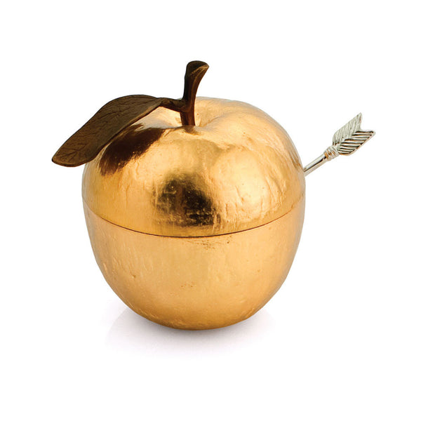 Apple Honey Pot w/ Spoon Goldtone