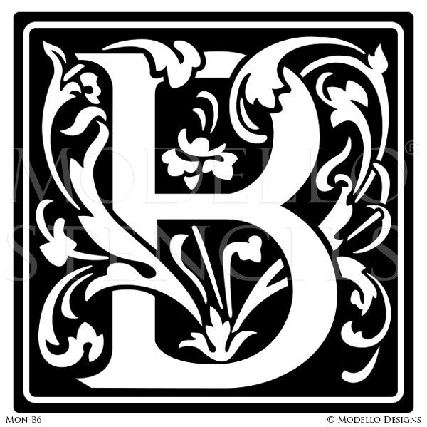 Letter B Decorative Monograms Alphabet Stencils for Painting - Modello Custom Stencils