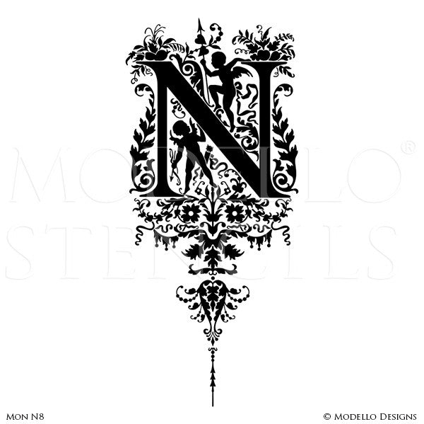 Letter N Peel and Stick Custom Stencils for DIY Painted Monograms - Modello Custom Stencils