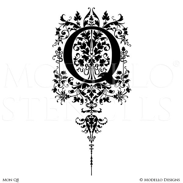 Letter Q Floral Wall Mural Stencils & Wall Quotes - Modello Custom Stencils