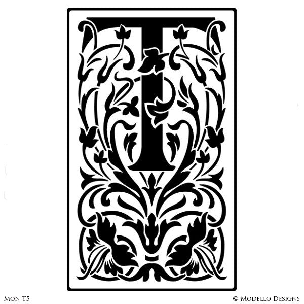 Letter T Professional Decorating and Painting Monogram Designs - Modello Custom Stencils