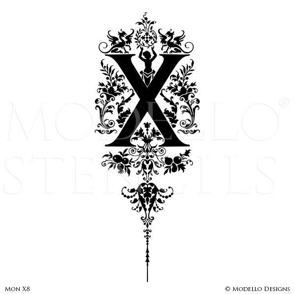 Letter X Decorative Script Design Painted on Wall Quotes and Lettering - Modello Custom Stencils