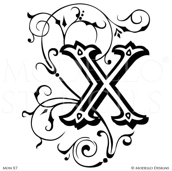 Letter X Script Typography Lettering Stencils for Custom Painted Wall Decor - Modello Custom Stencils