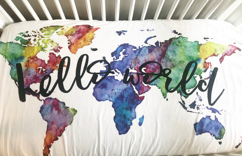 Hello World Fitted Crib Sheet or Swaddle | Rainbow Watercolor World - Aspen Lane