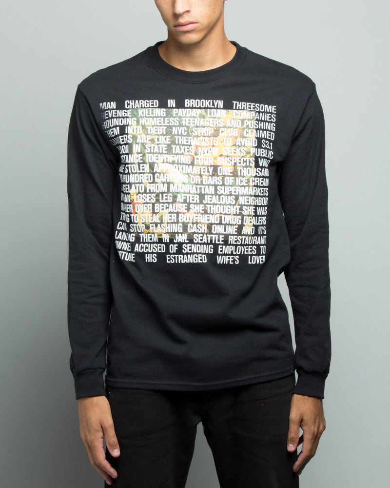 7 Deadly Sins LS Doulbe Print Tee Black