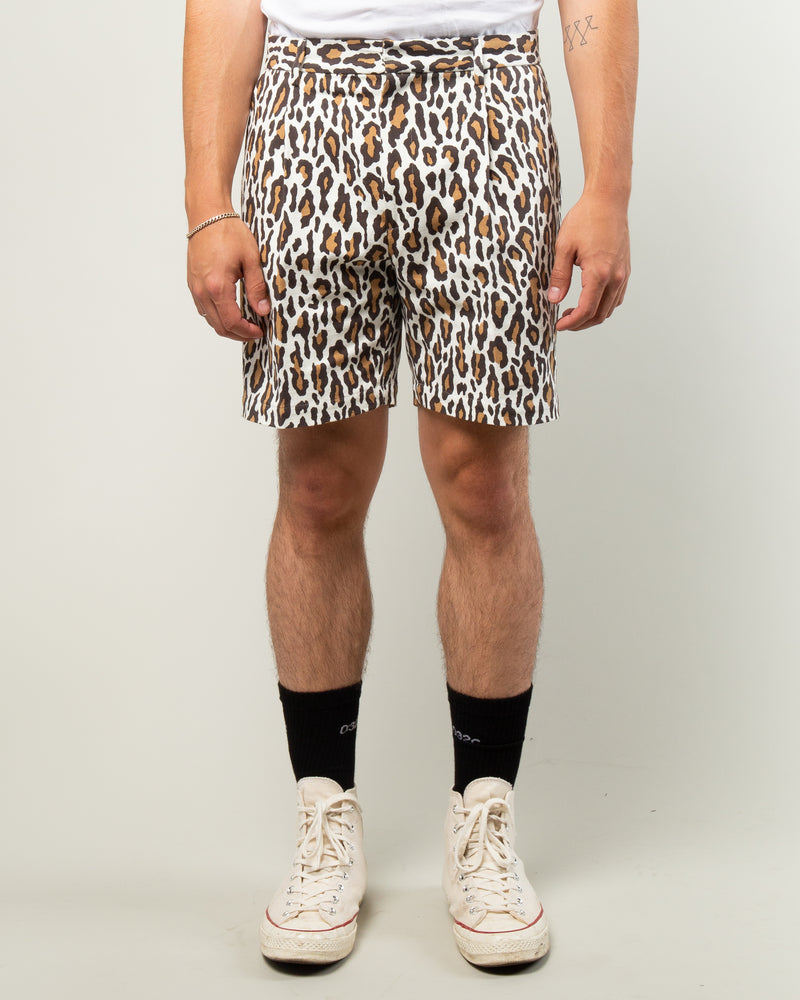 Leopard Pleated Short Trousers White