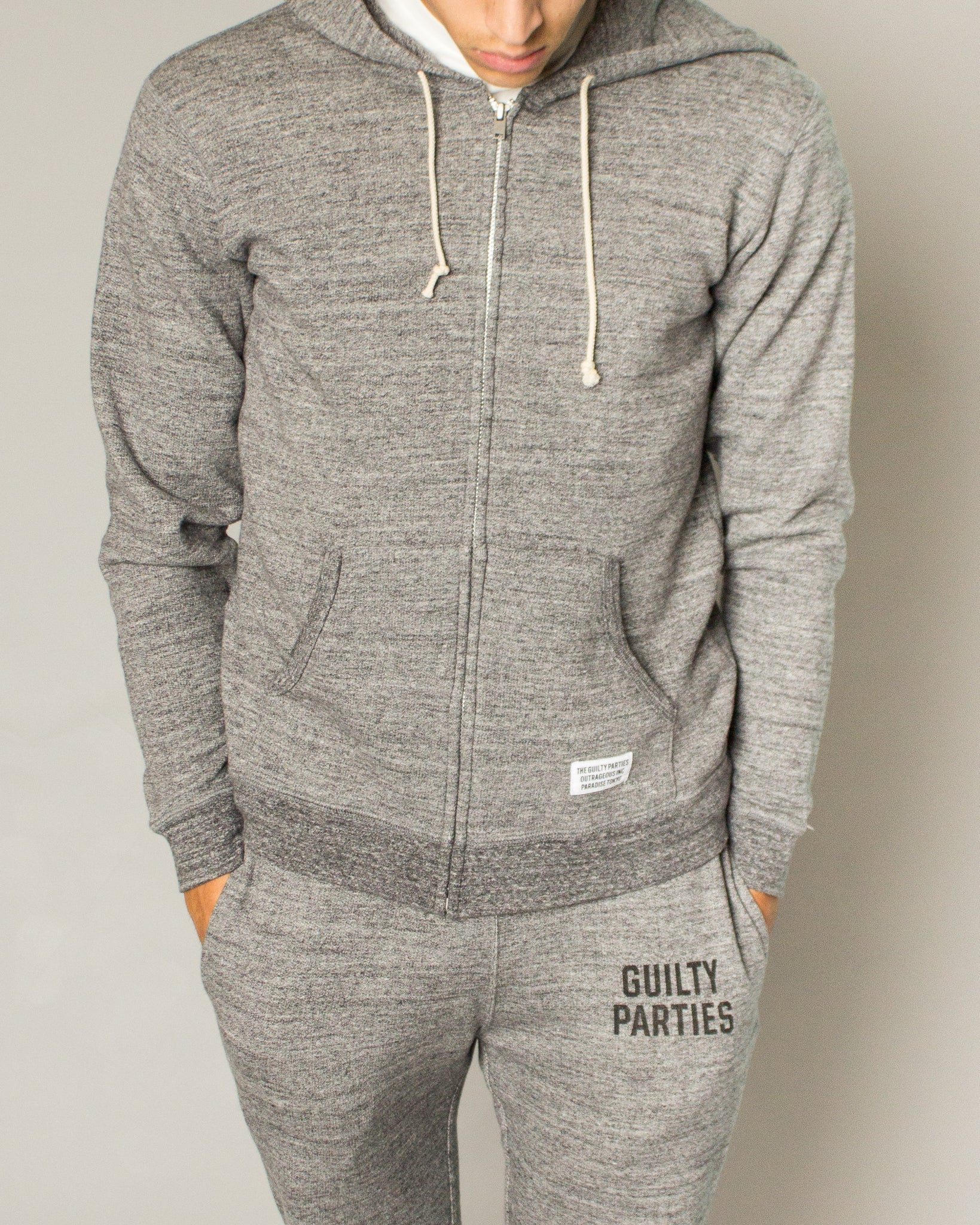 Guilty Parties Full Zip Hooded Sweatshirt Grey