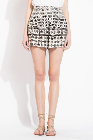 Print Blocked Smocked Shorts