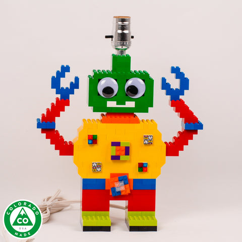 Robot lamp made of LEGO® elements