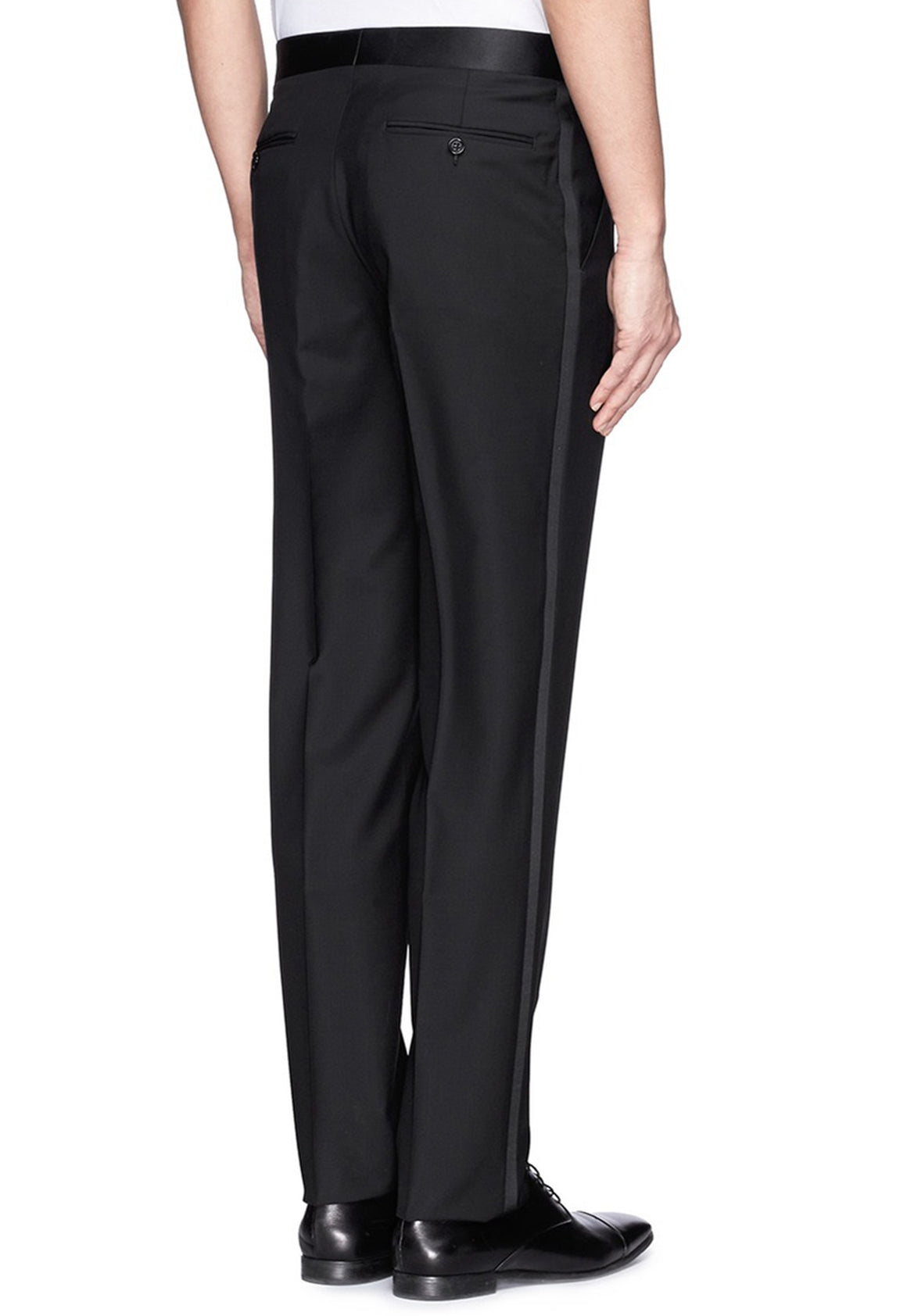 Men's Black, Pleated Front, Tuxedo Pants with Satin Stripe