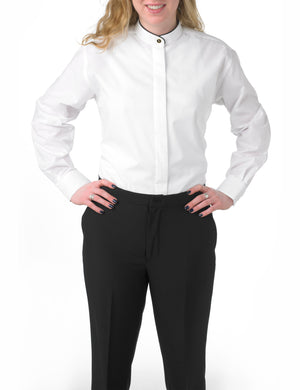 Women's White, Banded Collar, Long Sleeve Dress Shirt with Black Piping