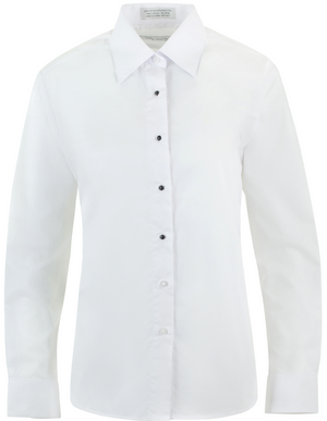 Women's White, Non-Pleated, Lay Down Collar, Long Sleeve Tuxedo Shirt