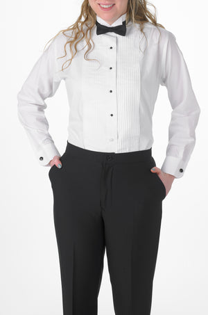 Women's White, Wing Tip Collar, Long Sleeve Tuxedo Shirt with ¼″ Pleats