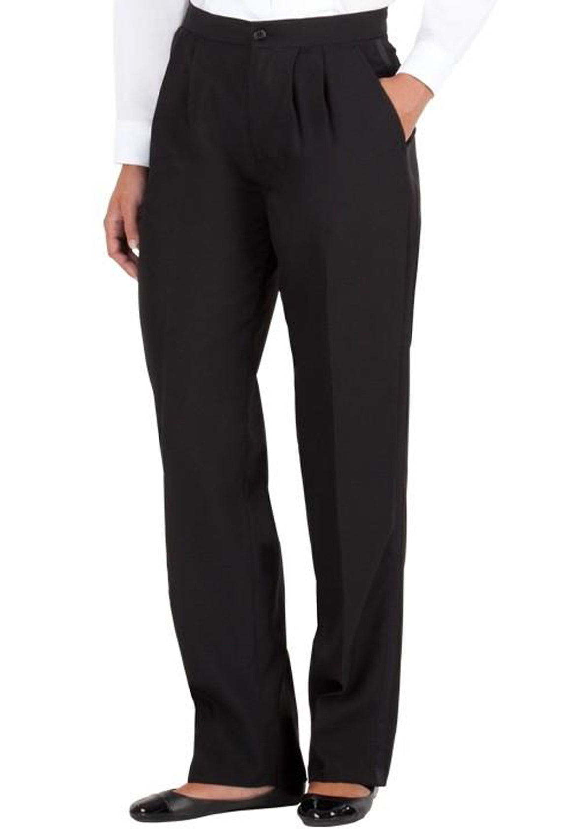 Women's Black, Pleated Front, Tuxedo Pants with Satin Stripe