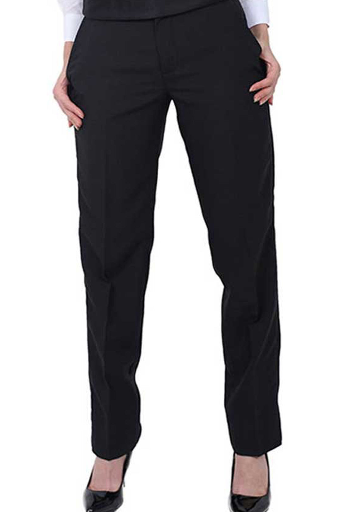 Women's Black, Flat Front, Dress Pants
