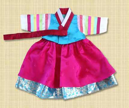 100th Day Girl Fuchsia and Blue Hanbok
