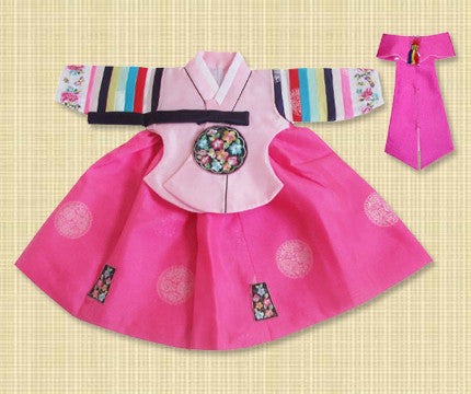 1st Birthday Girl Pink Palace Hanbok Large