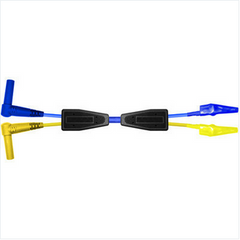(2) R/A 2mm Shrouded Mini Bananas-(2) Alligator Clips-Blue-6ft