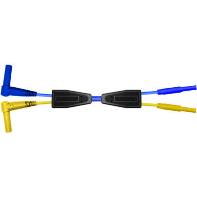(2) R/A 2mm Shrouded Mini Bananas-(2) Chuck Ends-Blue-6ft