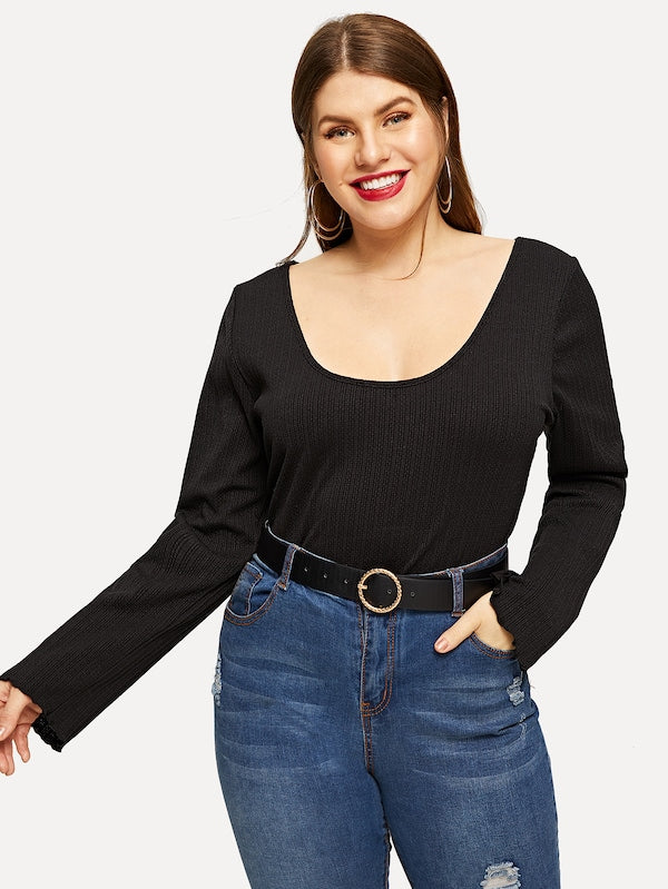 Plus Size Slim Fitted Solid Tee