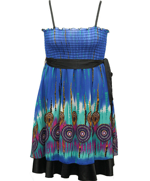 Layered Ribon Belt Blue Dress