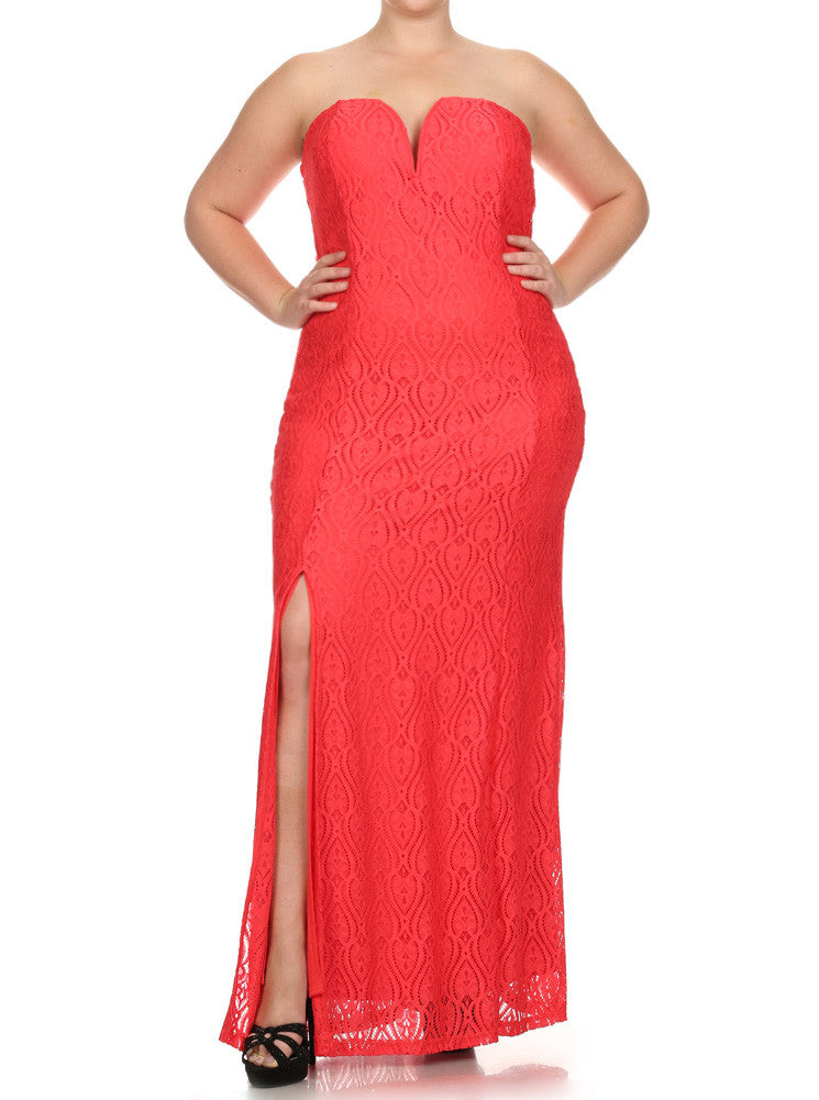 Plus Size Victorian Goddess Crochet Coral Maxi Dress