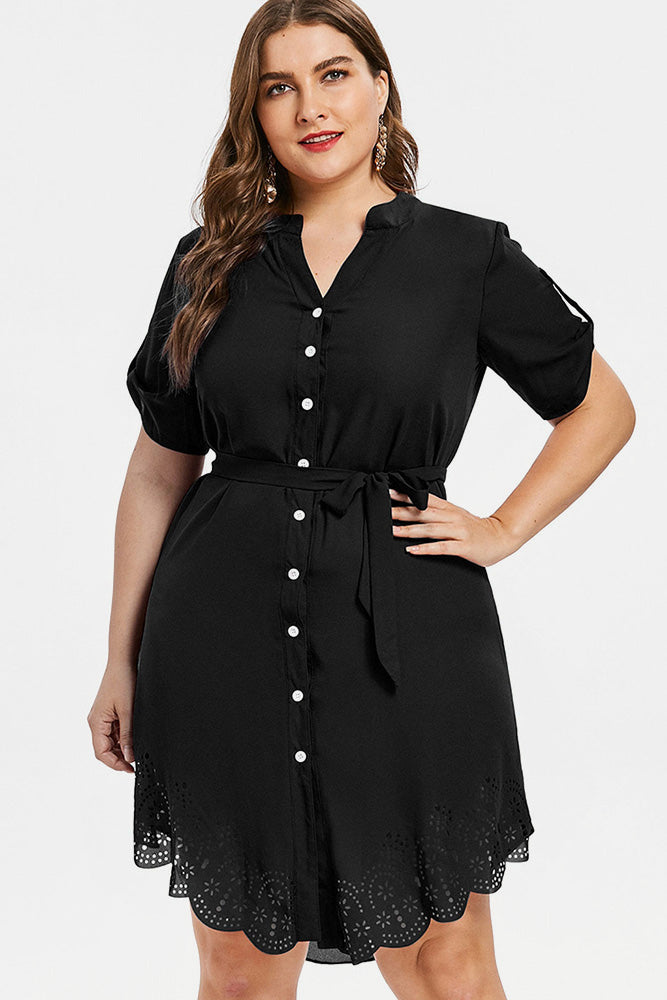 Plus Size Black Short Sleeve Shirt Dress