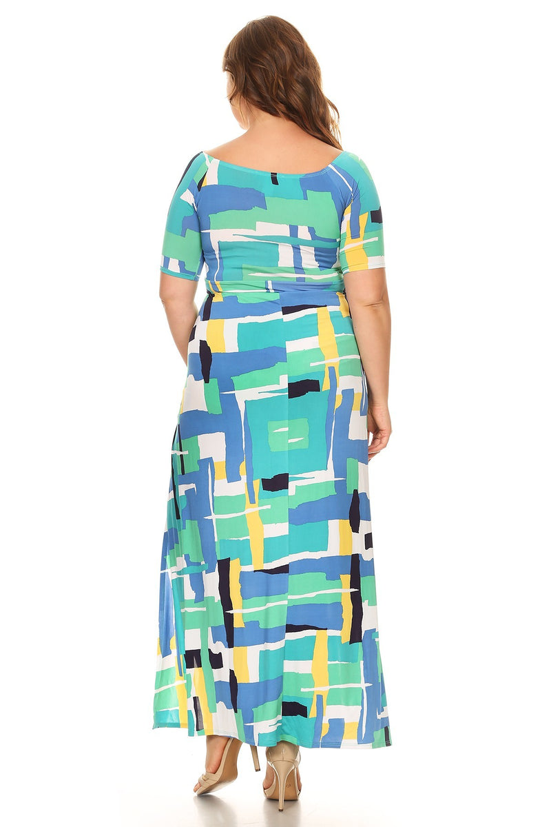 Plus Size Abstract Geo Pattern Printed  Maxi Dress