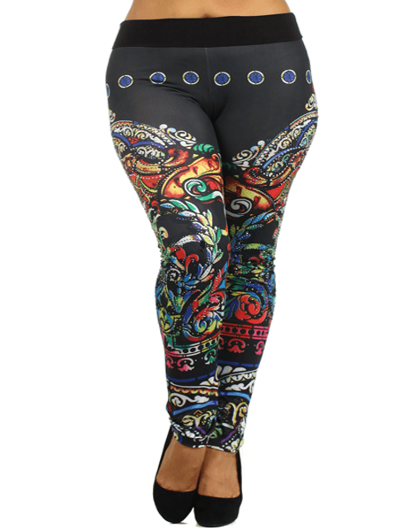 Plus Size Sublimation Print Leggings