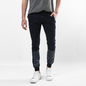 Leather Patched Slim Fit Joggers