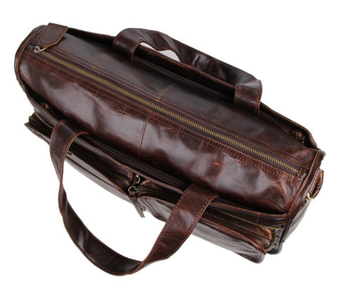 Image of 'Trapani' Men's Vintage Italian Leather Laptop & Messenger Bag - Oxblood-Universal Store London™