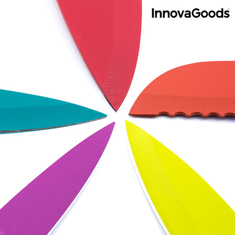 InnovaGoods Swiss·Q Fashion Ceramic Coated Knives & Scissors Set (6 Pieces)-Universal Store London™