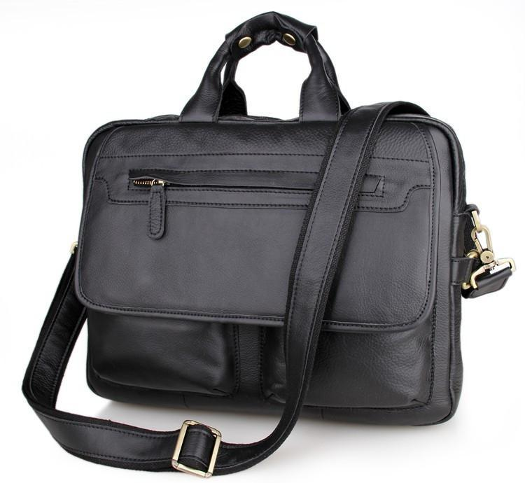 Davos Handmade Leather Laptop Messenger Briefcase - Black-Universal Store London™