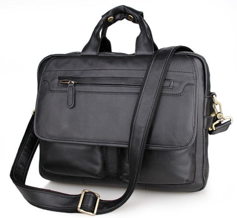 Image of Davos Handmade Leather Laptop Messenger Briefcase - Black-Universal Store London™
