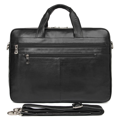 'Amesbury' Genuine Leather Double Zip Briefcase - Black-Universal Store London™