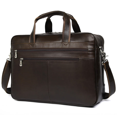 'Amesbury' Genuine Leather Double Zip Briefcase - Dark Brown-Universal Store London™