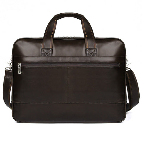Image of 'Amesbury' Genuine Leather Double Zip Briefcase - Dark Brown-Universal Store London™