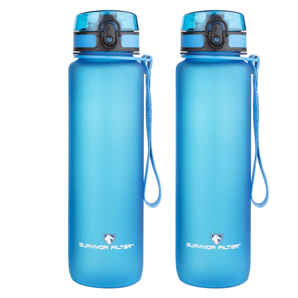 Sports Water Bottles (32oz) - 2 Bottle Set (2 Liters Total) - Survivor Filter