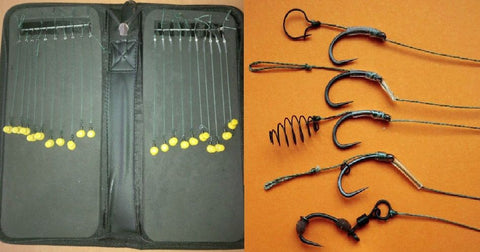 Rig Wallet With 20 Mixed Hair Rigs On Teflon Hooks