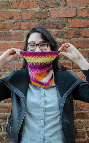 Pixel Rise Cowl Kit by Mountain Colors and JunkYarn