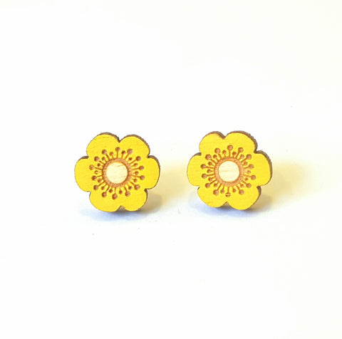 hand painted yellow flower buttercup wooden stud earrings