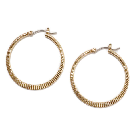 Dotpop Orla gold textured round hoop circle earrings