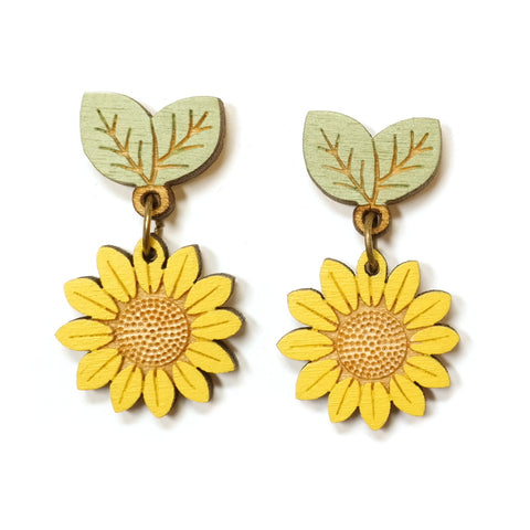 Cute wooden hand painted yellow and green sunflower drop earrings