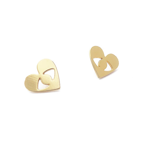 Gold Tiny Heart and Eye Stud Earrings