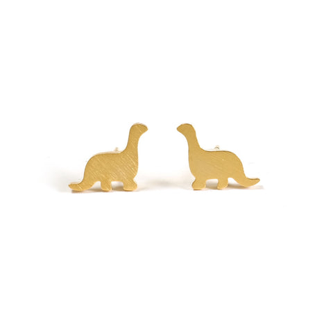 Stomp Tiny Brontosaurus Stud Earrings in Gold Plate by Eclectic Eccentricity
