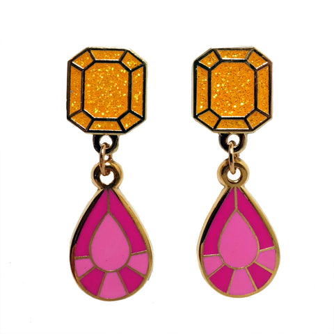 Orange glitter and pink gem shaped enamel drop earrings by Buried Diamond