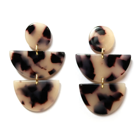 Eris tortoiseshell geometric earring - circle and semi-circle shaped acetate.