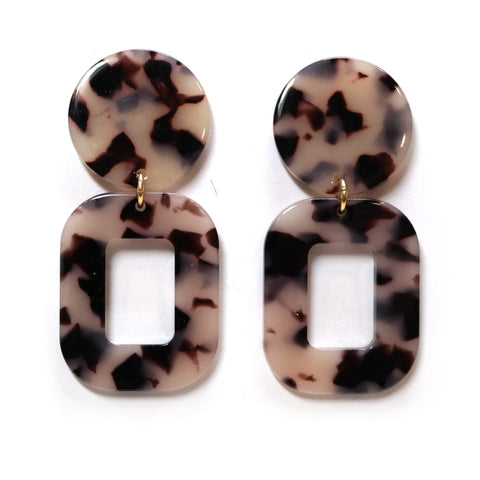 Hera geometric tortoiseshell acetate earrings - oval hoop and circle shapes